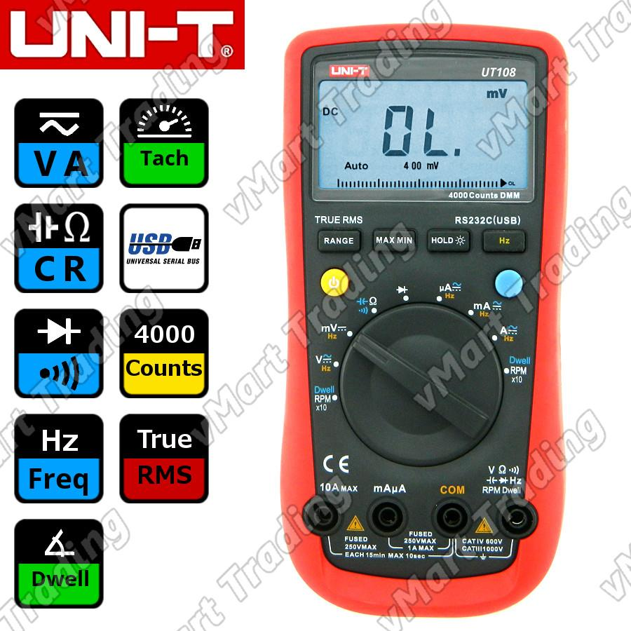 UNI-T UT108 True RMS Automotive Multimeter + PC Data Logging