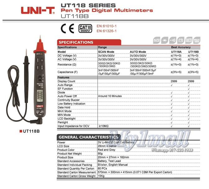 UNI-T UT118B Professional Handheld Pen Type Digital Multimeters Tester