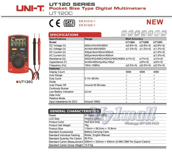 UNI-T UT120C Palm Size Ultra-portable Auto Ranging Digital Multimeter