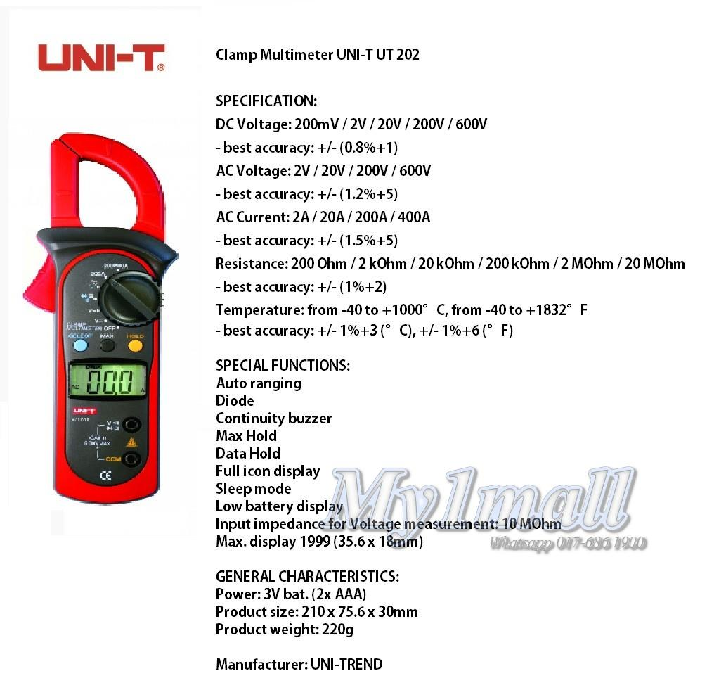 UNI-T UT202 Digital Clamp Meter