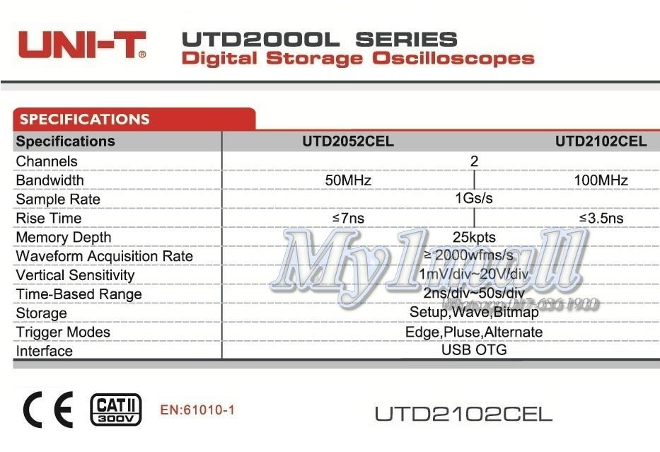 UNI-T UTD2102CEL 7' LCD 100MHz 2Channel Digital Oscilloscope