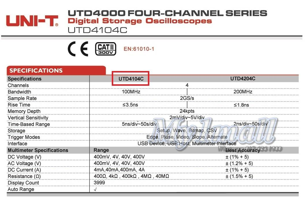 UNI-T UTD4104C BENCH DIGITAL STORAGE OSCILLOSCOPE