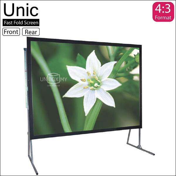 "Unic Fast Fold Portable Projector Screen 150""D Front-Rear Fabric"