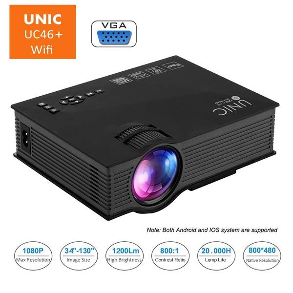 UNIC UC46+ UC46 Plus Upgrade 1200 Lumen WiFi Projector HDMI VGA Ezcast