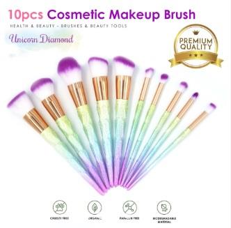 Unicorn Diamond Makeup Brush Cosmetic Set Kit (10 Pcs)