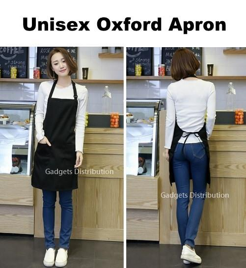 Unisex Black Oxford Apron with Front Pockets Adjustable Neck Strap