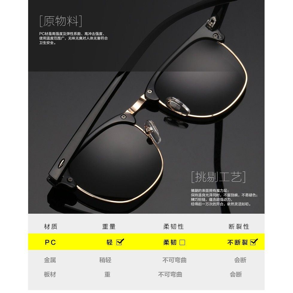 Unisex fashion polarized sunglasses 3016