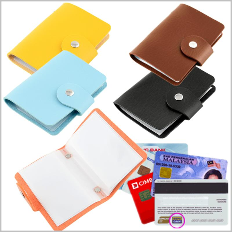 Unisex Pu Leather 24 Slots Bank Business Credit ID Card Holder Case