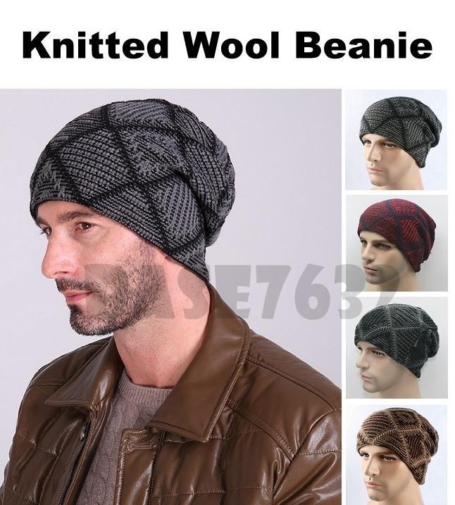 Unisex Winter Warm Wool Knitted Grid Style Beanie Snow Cap Hat. ‹ › ebe338e6b75