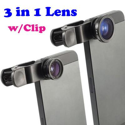 Universal 3 in 1 Phone Camera Fish Eye+Wide Angle+Macro Lens 1256.1