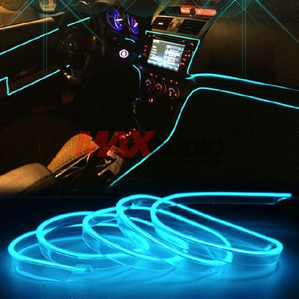 Universal Car Ambient El Neon Wire Strip Moulding Trims Light 3 Meter