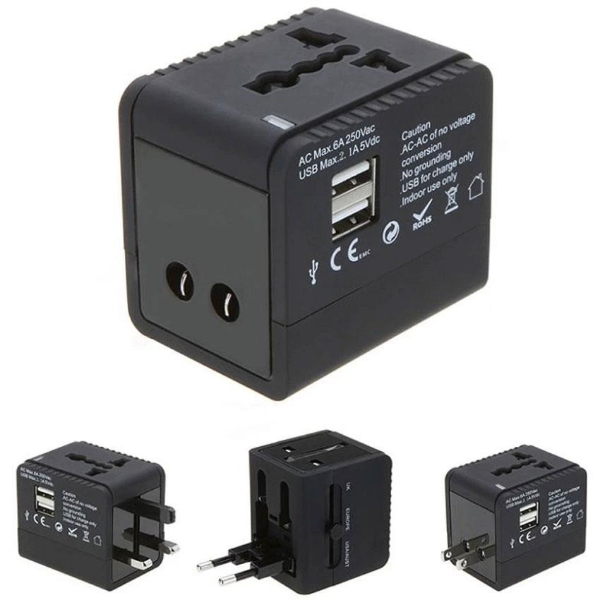 Universal Multi Plug Travel Adapter Charger (2 USB Ports)