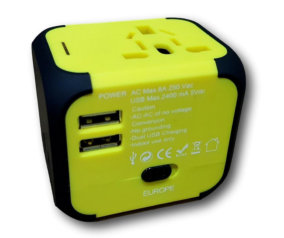 Universal Travel Adapter/International Adapter with 2 USB Port 2.4Amp
