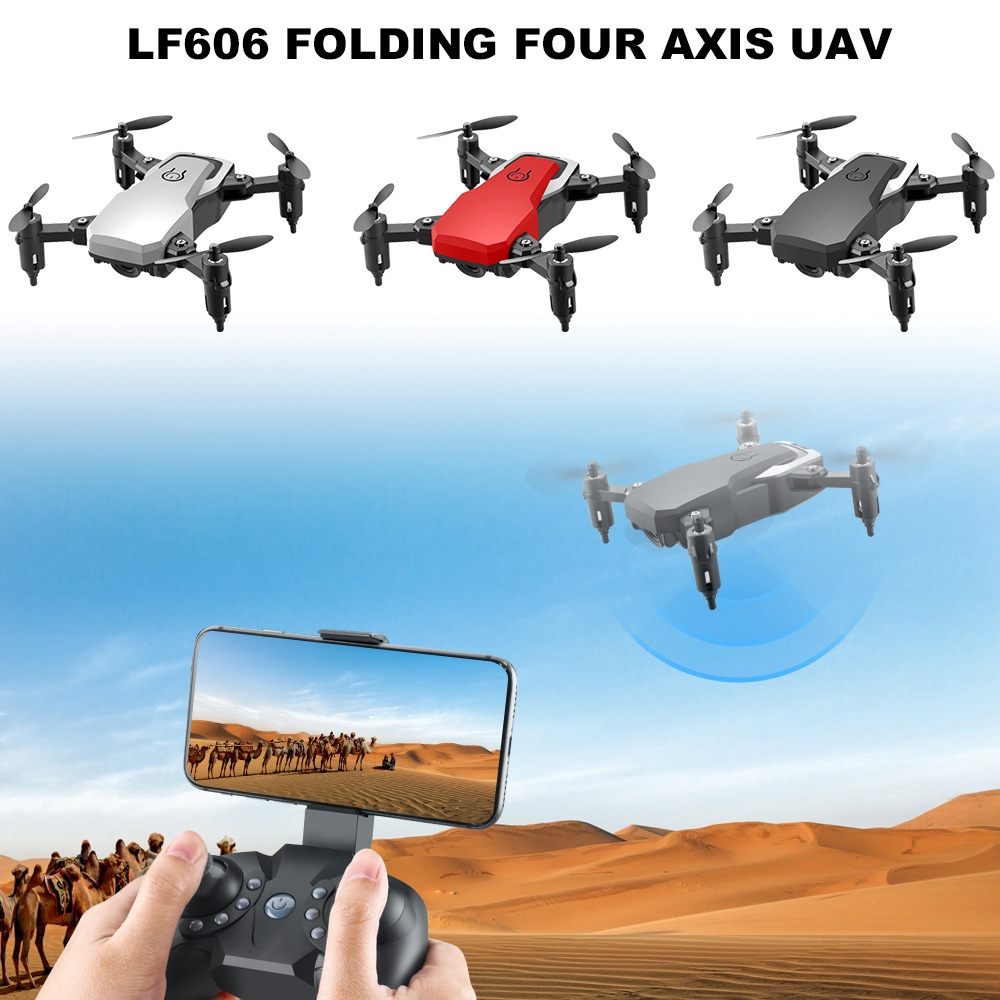 Upgrade Lf606 Quadcopter Collapsible Rc Drone With - [RED,720P PIXELS]