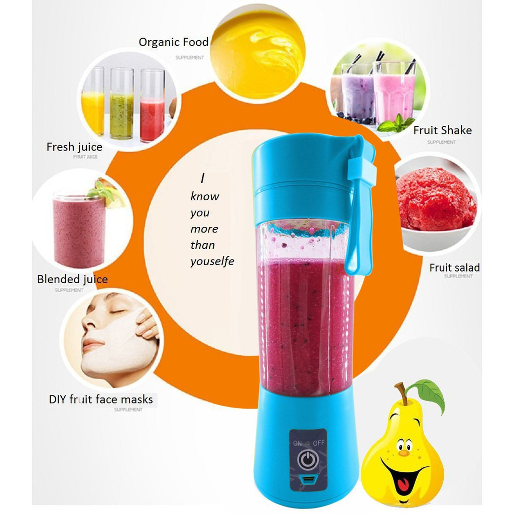 Upgraded 4 Blades Portable Electric USB Rechargeable 380ML Juicer Blender