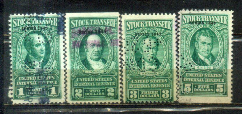 USA $1 To $5 Stock Transfer-- Series 1943 & 44-- Old Stamps