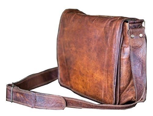 (FROM USA) 13 Inch Leather Full Flap Messenger Handmade Bag Laptop Bag Satchel