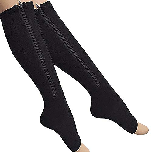 [From USA]2-Pack Zipper Compression Socks for Men/Women with Open Toe Knee Hig