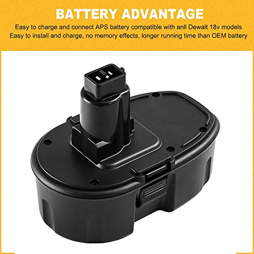 From USA 2Packs 18 Volt Replacement Battery for Dewalt 18V Battery Compatible