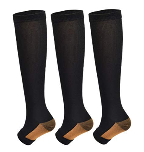 [From USA]3Pairs Copper Open Toe Toeless Compression Socks(15-20mmHg) for Men