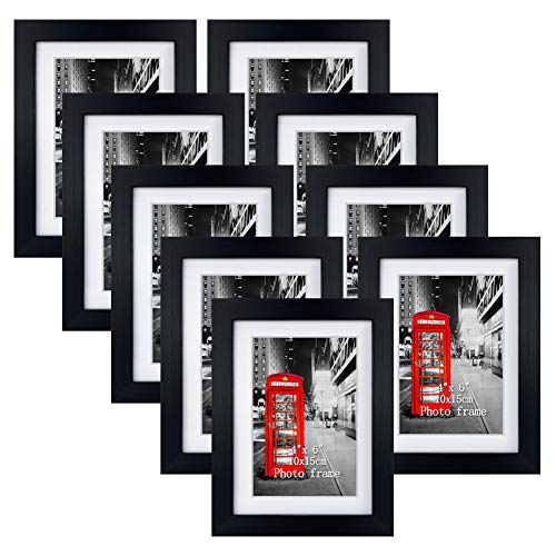 (FROM USA) 4x6 Picture Frame Set of 9, 5x7 Black Photo Frames Matted for 4x6 P