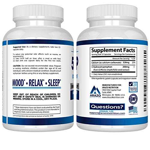 (FROM USA) 5-HTP 200 MG Plus Calcium for Mood, Sleep, Anxiety - Boosts Seroton