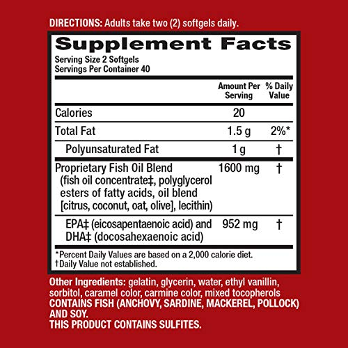(FROM USA) 800mg Omega-3 Fish Oil Supplement, MegaRed Advanced 6X Absorption S
