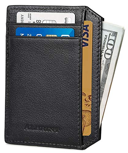 (FROM USA) ALBRINT Rfid Minimalist Leather Wallets for Men and Women Front Poc