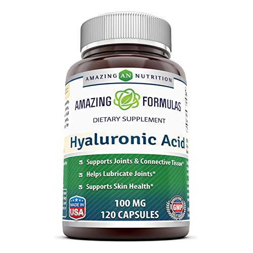 (FROM USA) Amazing Formulas Hyaluronic Acid 100 mg 120 Capsules (Non-GMO,Glute