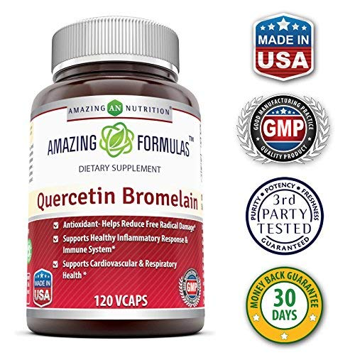 (FROM USA) Amazing Nutrition- Quercetin 800 Mg with Bromelain 165 Mg, 120 Vcap