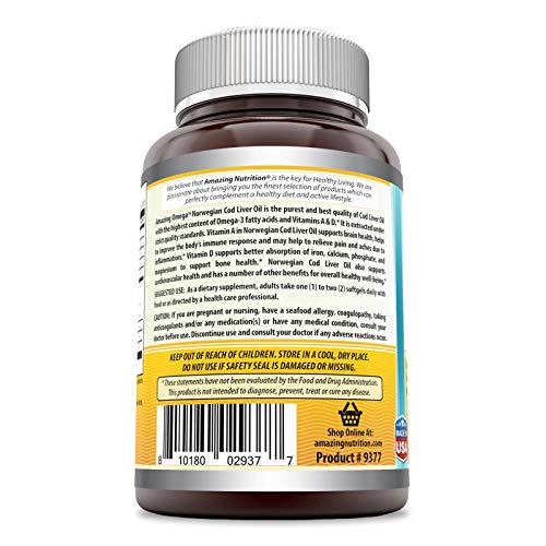 (FROM USA) Amazing Omega Norwegian Cod Liver Oil - 1250 mg, 120 Softgels - Pur