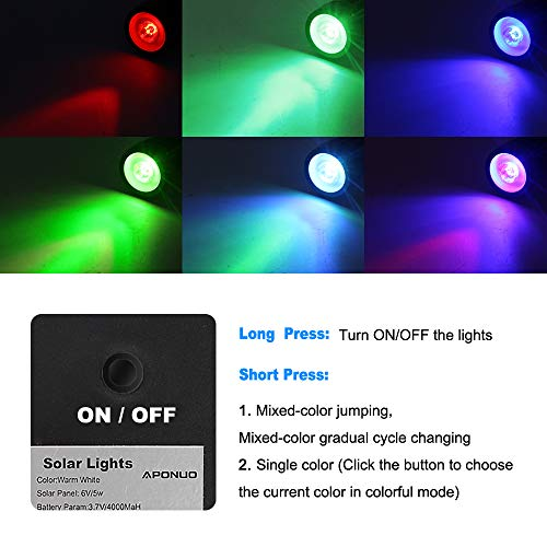 From USA APONUO Solar Spotlights RGB Landscape Lights Color Changing Low Volta