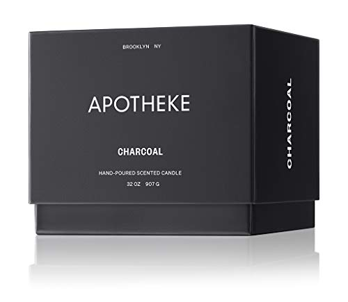 (FROM USA) APOTHEKE Luxury Scented 3-Wick Jar Candle, Charcoal, 32 oz - Perfum