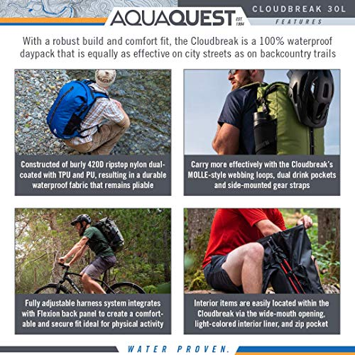 (FROM USA) Aqua Quest Cloudbreak Waterproof Backpack - Large 30L DryBag Daypac
