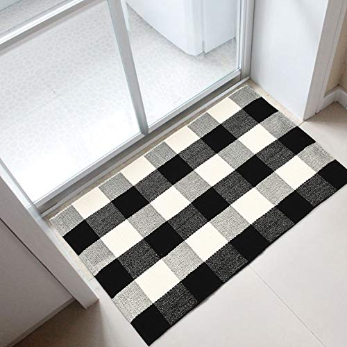 (FROM USA) Area Rug Black White and Gray Classic Plaid Runner Rugs Hand Woven