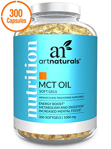 [From USA] ArtNaturals MCT Oil Softgels Capsules (300 Count / 1000mg) - Keto D