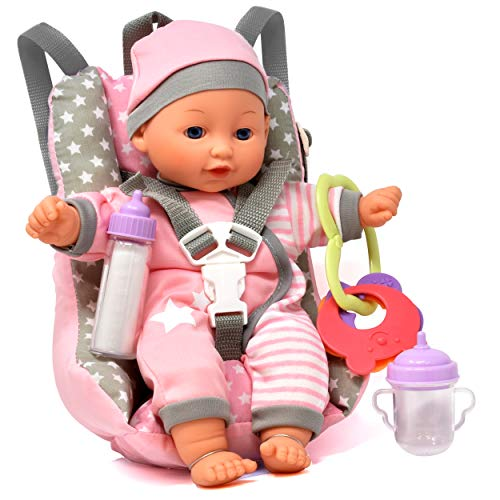check out 54e20 9d7f5 [From USA]Baby Doll Car Seat with Toy Accessories Includes 12 Inch Soft  Body D