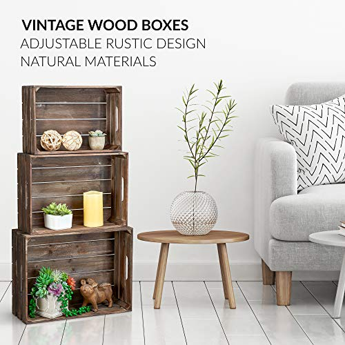 (FROM USA) Barnyard Designs Rustic Wood Nesting Crates with Handles Decorative