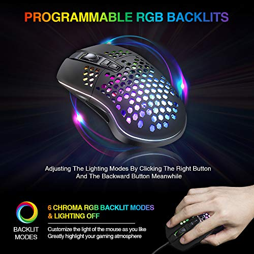 From USA BENGOO RGB Gaming Mouse, Wired USB Mouse with Lightweight Honeycomb S