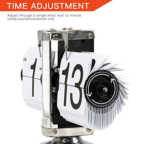 (FROM USA) Betus Flip Desk Clock - Mechanical Retro Style -Digital Display Bat
