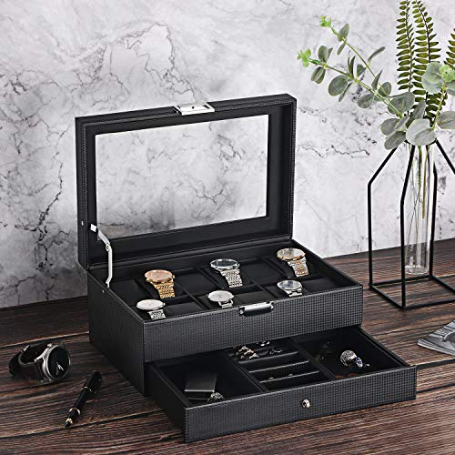 From USA BEWISHOME Watch Box Organizer with Valet Drawer - Real Glass Top, Adj