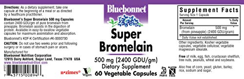 (FROM USA) BlueBonnet Super Bromelain Vegetarian Capsules, 500 mg, 60 Count