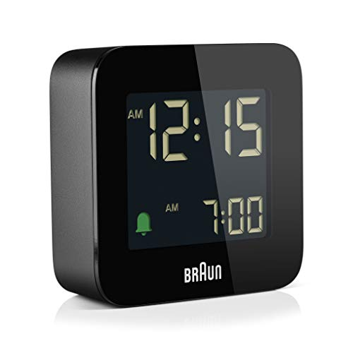 (FROM USA) Braun Digital Travel Alarm Clock with Snooze, Compact Size, Negativ