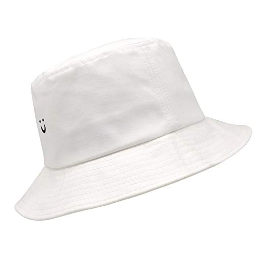 (FROM USA) Bucket Hat Smile Face 100% Cotton Cap Travel Bucket Beach S