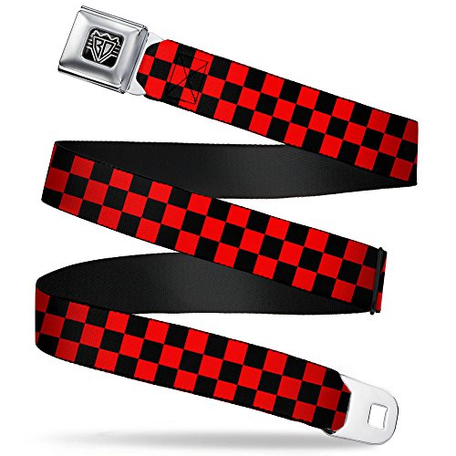 "(FROM USA) Buckle-Down Seatbelt Belt - Checker Black/Red - 1.5 "" Wide - 2"