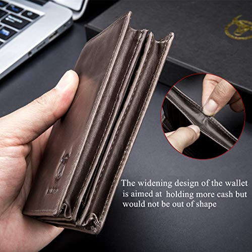 (FROM USA) Bullcaptain Large Capacity Genuine Leather Bifold Wallet/Credit Car