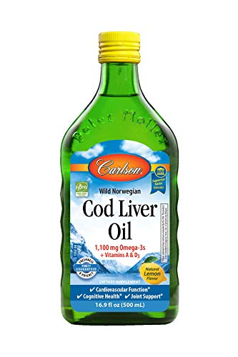 (FROM USA) Carlson - Cod Liver Oil, 1100 mg Omega-3s, Liquid Fish Oil Suppleme