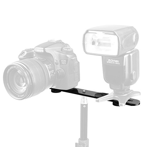 From USA ChromLives 1/4'' Dual Camera Mount Flash Bracket Extension Bar 10.6''