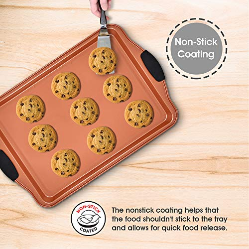(FROM USA) Copper Baking Sheet Pans Nonstick Bakeware Set 4 Piece includes 2 L
