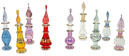 (FROM USA) CraftsOfEgypt Genie Blown Glass Miniature Perfume Bottles for Perfu